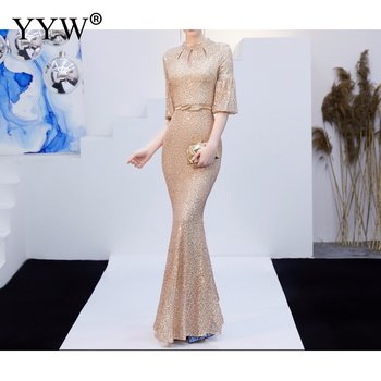 Red Sequined Luxury Evening Dress Women Half Sleeve Hollow Mermaid Long Party Dress Bodycon Elegant Prom Gown Sexy Club Dresses 6