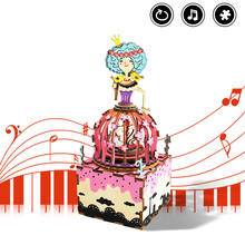 Robotime DIY Rotatable Music Box 3D Wooden Puzzle Assembly Model Building Kits Musical Toys for Children Birthday Gift AM405 robotime wooden mini architecture toy diy 3d puzzle sam s study miniature model building kits wood toys for adults bookstore