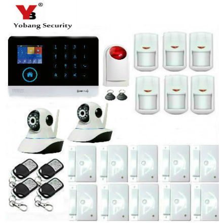 YobangSecurity Touch Keypad LCD Display Wifi GSM IOS Android APP Wireless Voice Message Home Burglar Security Alarm System yobangsecurity touch keypad wifi gsm gprs rfid alarm home burglar security alarm system android ios app control wireless siren
