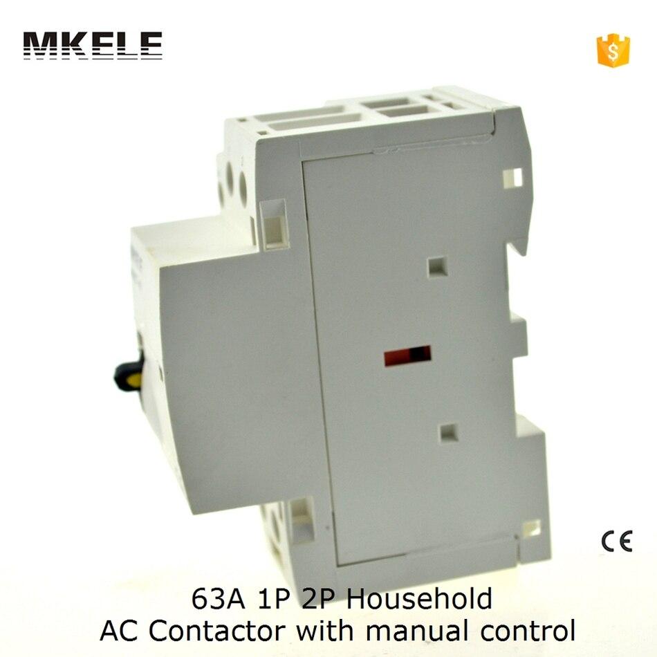 63A 2 Pôle Ménage Électrique AC Contacteur 230 V 110 V 24 V Avec Manuelle Contator 2NO 2NC 1NO1NC
