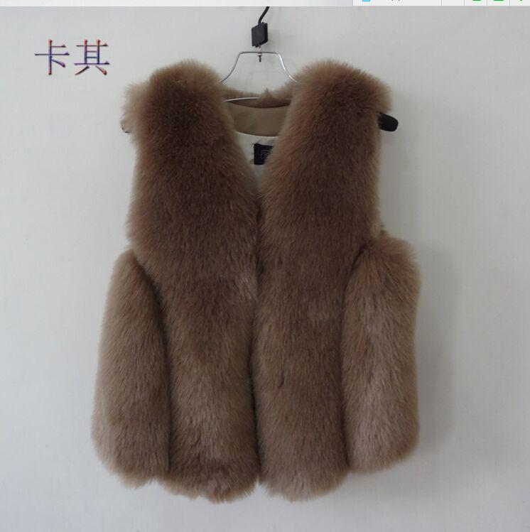Новинка, зимние толстые теплые меховые жилеты, пальто для женщин, искусственный Лисий мех, жилет, короткие пальто, высокое качество, жилет, Женская куртка, верхняя одежда - Цвет: brown