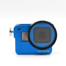 TELESIN Blue Aluminum Alloy Skeleton Rugged Cage Protective Case + 52mm UV Lens Set + Storage Bag + Wrist Strap for GoPro Hero 5