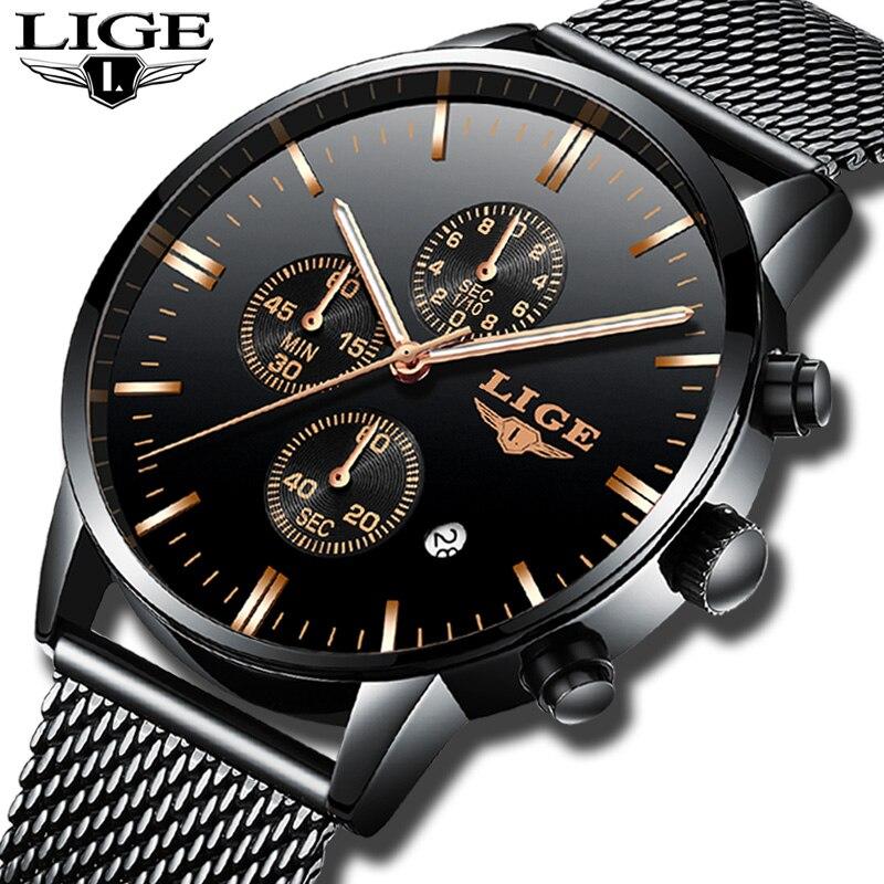LIGE для мужчин s часы лучший бренд класса люкс Бизнес Кварцевые часы для мужчин сталь с сетчатым ремешком повседневное водонепроница