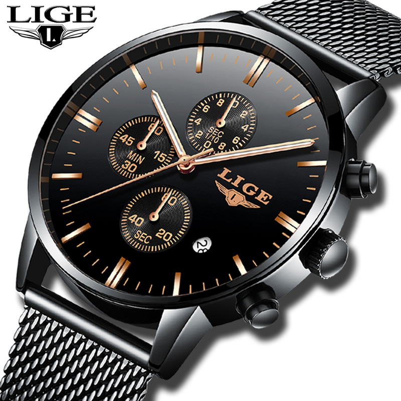 LIGE Mens Watches Top Brand Luxury Business Quartz Watch Men Steel Mesh Strap Casual Waterproof Sport Watch Relogio Masculino watches top brand luxury chronograph clock men business casual creative mesh strap quartz watch relogio masculino