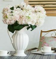 Fake Hydrangea (6 Stems/Bunch) Flower 43cm/16.93 inches Artificial Flowers Hydrangeas for Wedding Home Showcase Xmas Decor