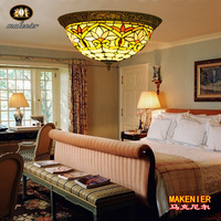 Makenier Vintage Tiffany Style Stained Glass Lotus Flower Flush Mount Ceiling Lamp 16 Inches Lampshade