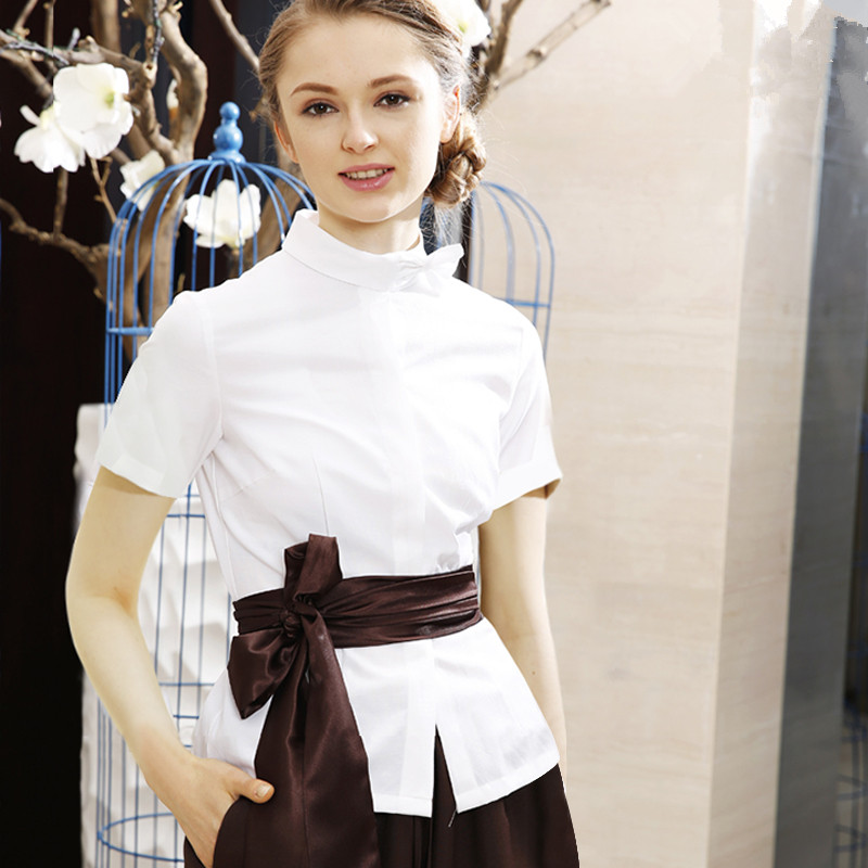 Teahouse Kotofusa Short Sleeve Overalls Uniforms Summer Elegant White Oxford Scrub Sets SPA Health Center Workwear Beauty Salon