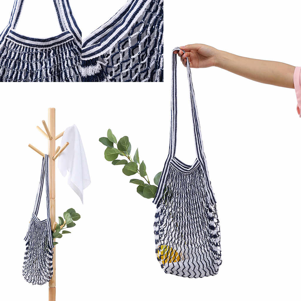 Shopping Bag Reusable Fruit Storage Handbag Totes Tote Mesh Woven Net Shoulder Bag New reusable bag fruit