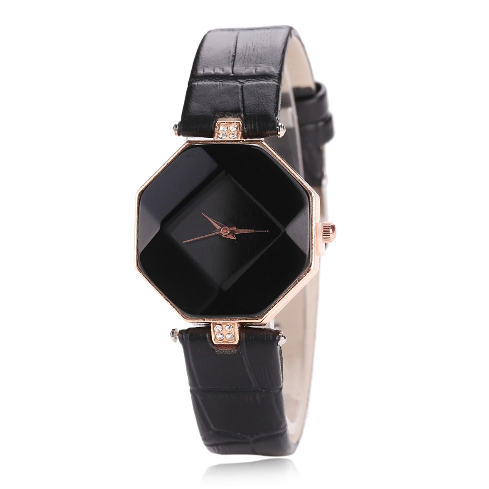 Brand Top Luxury Trendy Exquisite Slight Faux Leather Band Women Wristwatch Ladies   Rhombus Quartz Watch Fashion Casual Clock