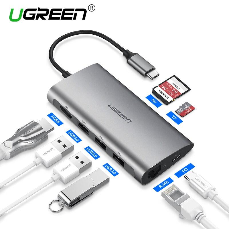 Ugreen Thunderbolt 3 Dock Adapter USB C zu 3,0 HUB HDMI RJ45 Typ C Konverter für MacBook Pro Huawei Mate 20 P20 USB-C Adapter