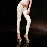 Sexy PVC Faux Leather Super Low Waist Long Skinny Pencil Women Pants U Drawstring Wetlook Capris Clubwear