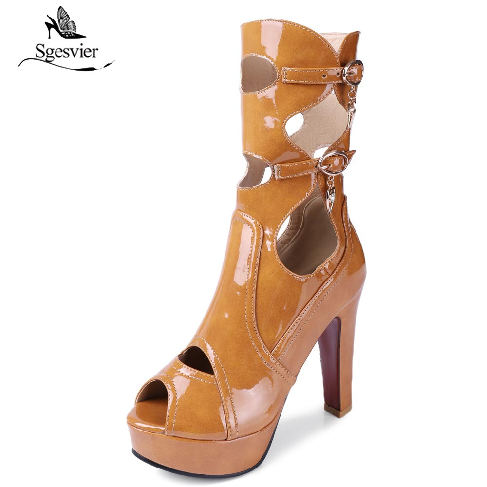 Sgesvier Thick High Heels Fashion Sexy Sandals Shoes Woman Peep Toe Ankle Summer Boots Black Beige Yellow Plus Size 32-50 B506 nancyjayjii 2017 fashion lady black suede peep toe high heels ankle boots shoes for woman zapatos botas mujer plus size 5 14