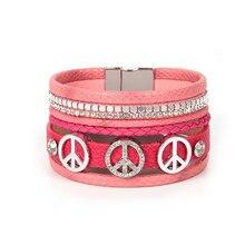 ORP Europe and the United States For Women New Zircon peace Bohemia Bangles 7pcs layers Ethnic Style Leather Bracelet