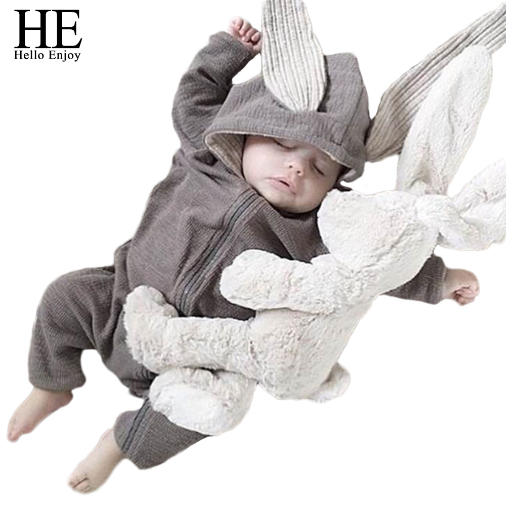 HE Hello Enjoy Newborn Costume Baby Rompers Long Sleeve Rabbit Jumpsuit Playsuit Bunny Outfits Ear Boys Clothes Spring 2018 newborn infant baby girls boys long sleeve clothing 3d ear romper cotton jumpsuit playsuit bunny outfits one piecer clothes kid