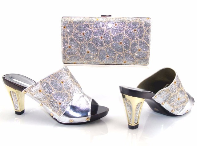3dab713003c78 BCSB0023 Fashion lady high heel sandal silver shoes and bag matching set  2017 newest italy shoes bag set for lace party