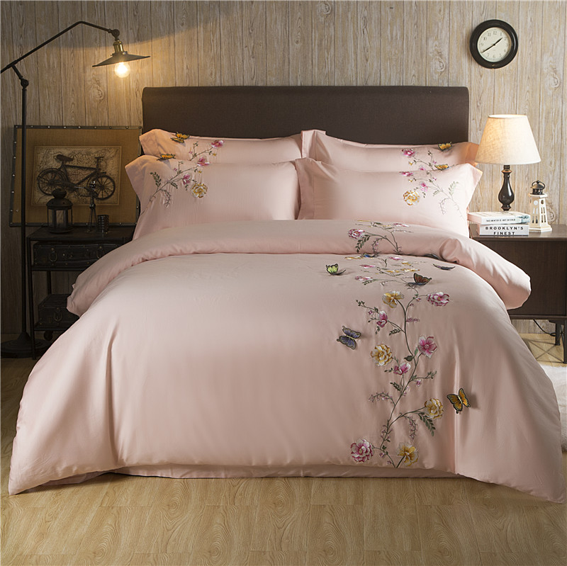 Butterfly Embroidery Luxury White Silky Egyptian Cotton Bedding SetsQueen King size Duvet cover Bed sheet linen
