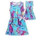 Niños vestido de Trolls niñas vestidos para 5-10Y Magia primavera de gama alta de europa rojo partido de las muchachas vestido del bebé al por mayor boutique ropa