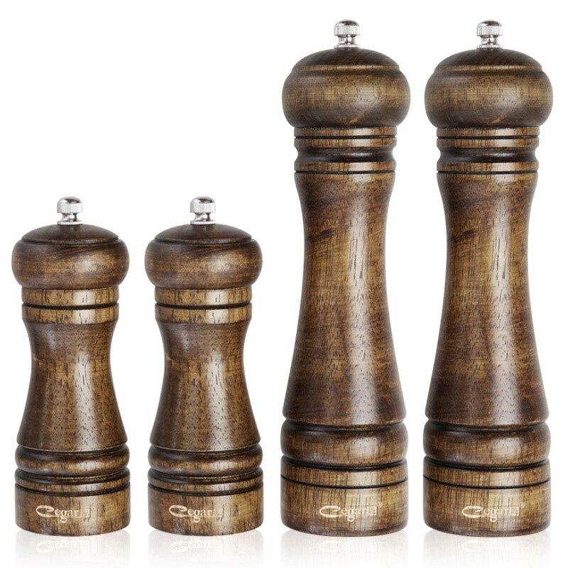 4 Pcs Set 8 inch 5 inch Classical Oak Wood Pepper Mill Grinder Set Handheld Seasoning