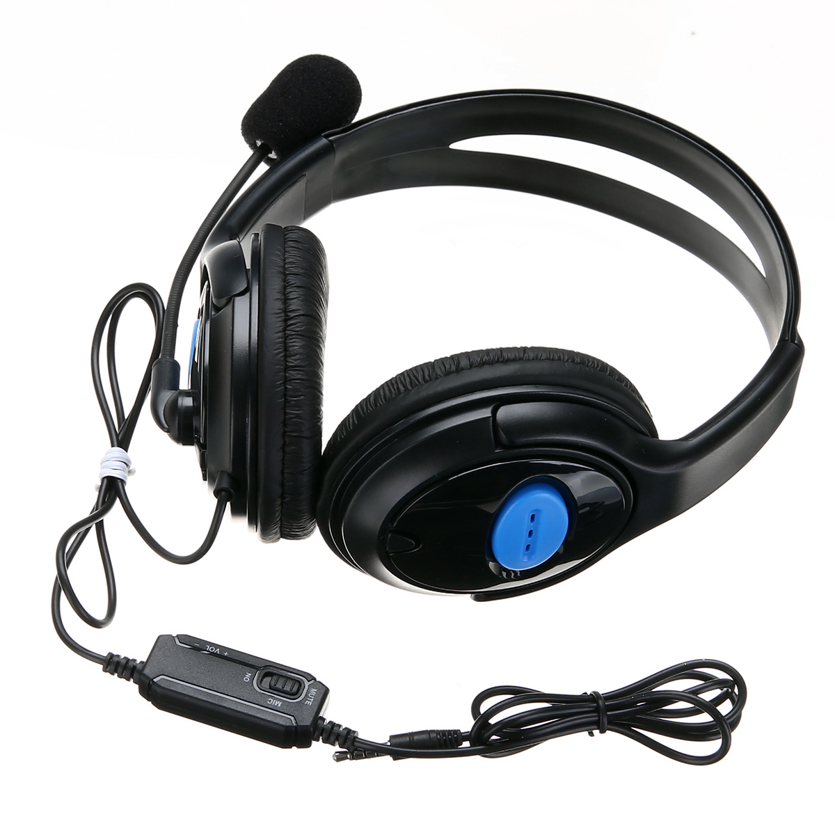 1pc 3.5mm Universal Replacement Stereo Gaming Headphone Black Blue Wired Headset Earphone with Mic For PS4 PC Mayitr