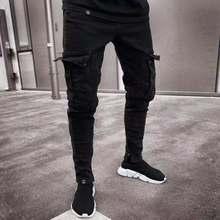 2019 New Outdoor Sport Black Trousers Jeans Men Fashion Cool Biker Baggy Jeans Mens Joggers Pants Stretch Denim Pencil Jeans цена в Москве и Питере