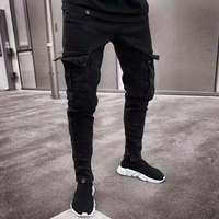 2019 New Outdoor Sport Black Trousers Jeans Men Fashion Cool Biker Baggy Jeans Mens Joggers Pants Stretch Denim Pencil Jeans