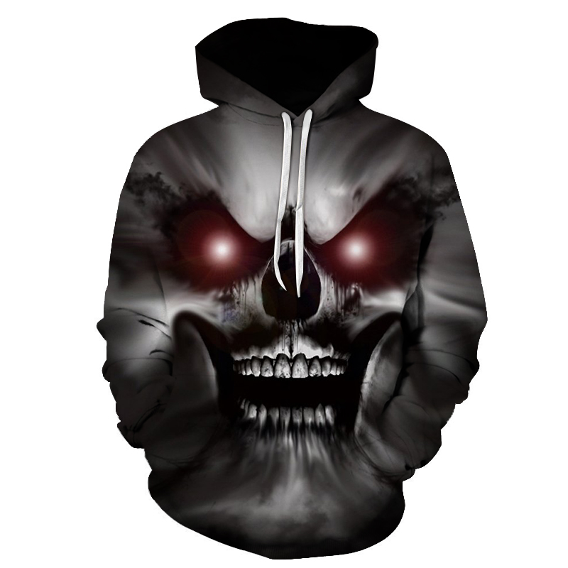 New Fashion Autumn Winter Men/women Thin Sweatshirts With Hat 3d Print Red Eyes Skull Hooded Hoodies Tops Pullovers