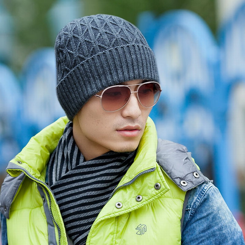Hat male winter outdoor knitted hat plus velvet thickening thermal pocket ear warm cap wool