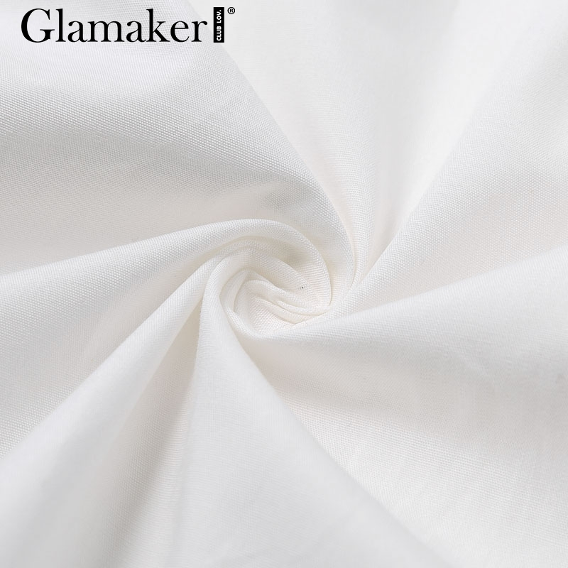 Glamaker Batwing sleeve white mini dress Women office lady pleated blouse shirt dress Autumn high waist slim elegant short dress 9