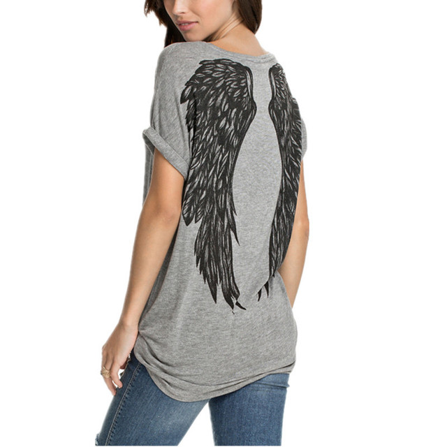 2016 Fashion Back Angel Wings Print T shirt Summer New Women Short Sleeve O-neck Casual Tops Tee Europe Style T-shirt Blusa