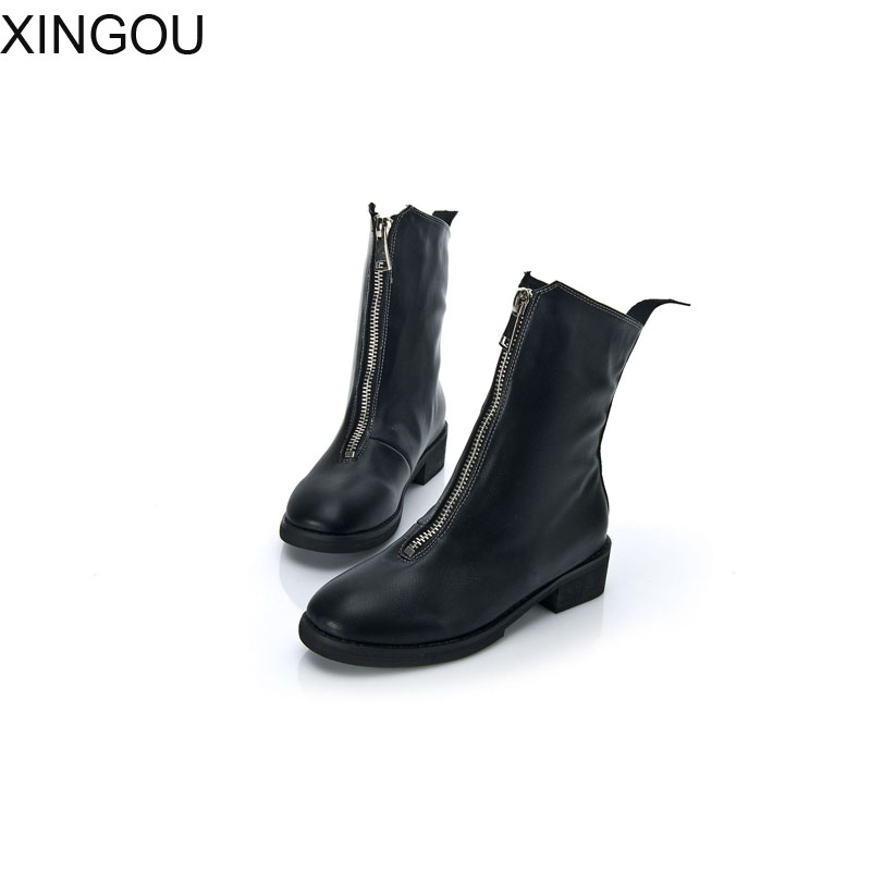 New XINGOU Cow Leather women boots Fashion 2018 Martin women's boots mid heel Ankle Boots Front zipper female boots new arrival superstar genuine leather chelsea boots women round toe solid thick heel runway model nude zipper mid calf boots l63