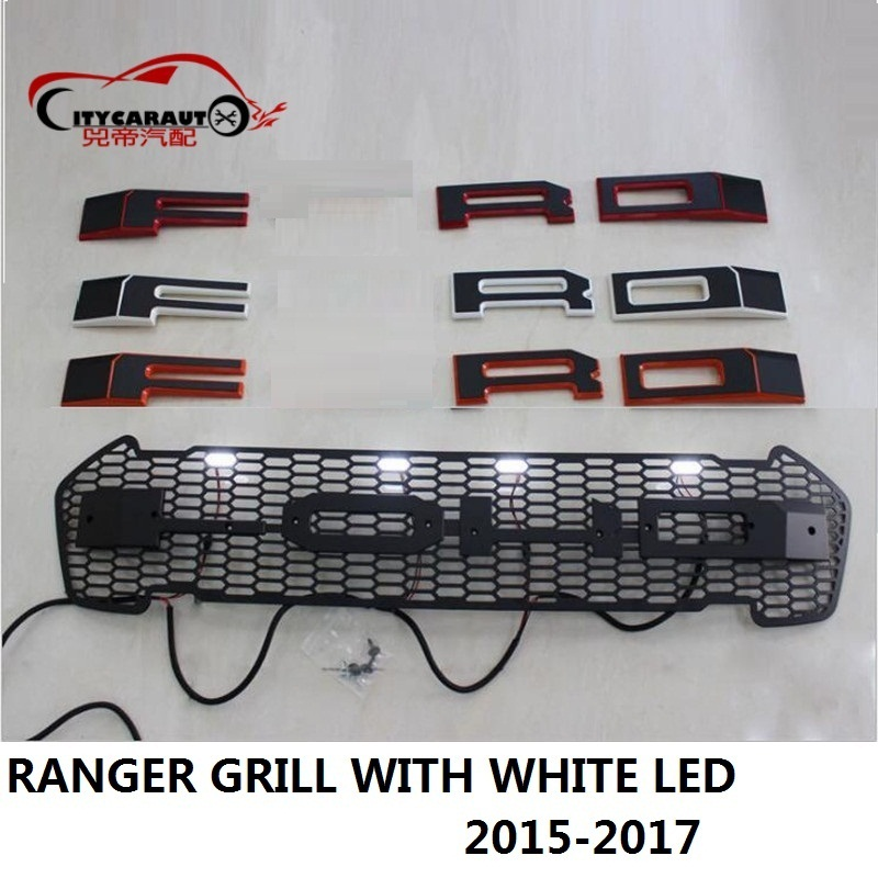 CITYCARAUTO CAR STYLING WHITE 4 LED RACING GRILL GRILLE RAPTOR GRILLS FRONT MASK COVER FIT FOR
