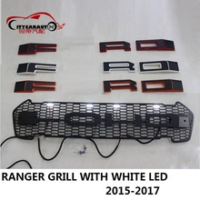 CITYCARAUTO CAR STYLING WHITE 4 LED RACING GRILL GRILLE RAPTOR GRILLS FRONT MASK COVER FIT FOR RANGER T7 TXL wildtrak 2015-2017