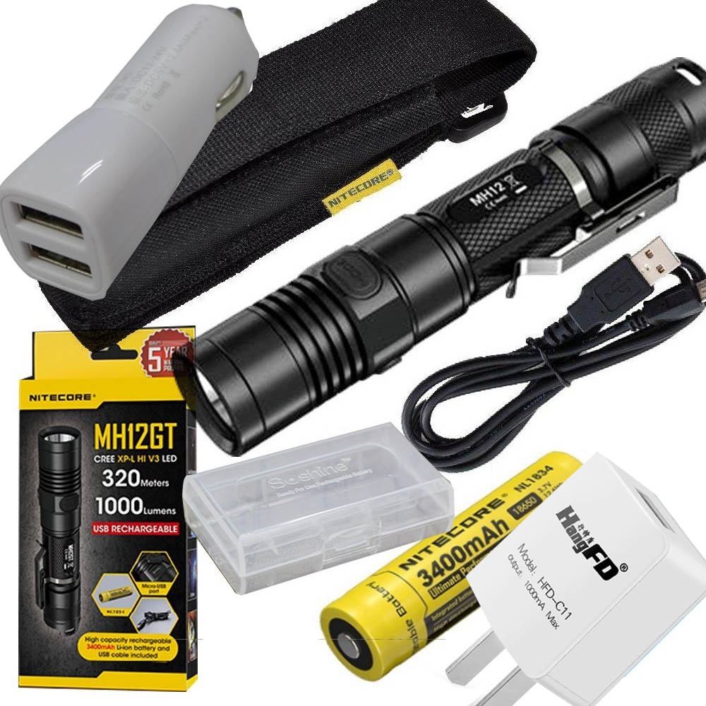 NITECORE 1000 Lm MH12GT XP-L HI V3 LED USB Rechargeable Flashlight Search Rescue Portable Torch +3400mah Battery+ car charger nitecore p12gt cree xp l hi v3 1000lm led flashlight 320 meter torch new i2 charger 18650 3400mah battery for search