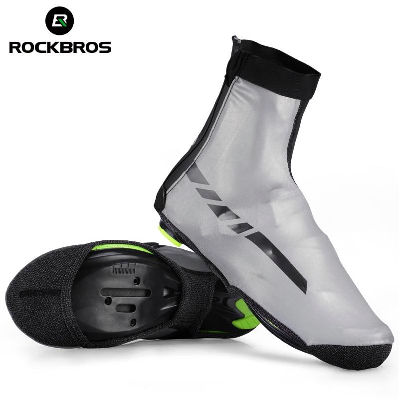 ROCKBROS Waterproof Winter Cycling Shoe Covers Reflective Thermal Elastic Durable Windproof Bike Rain Overshoes Sneaker Covers