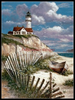 Needlework for embroidery DIY DMC High Quality - Counted Cross Stitch Kits 14 ct Oil painting - Lighthouse with Deserted Canoe