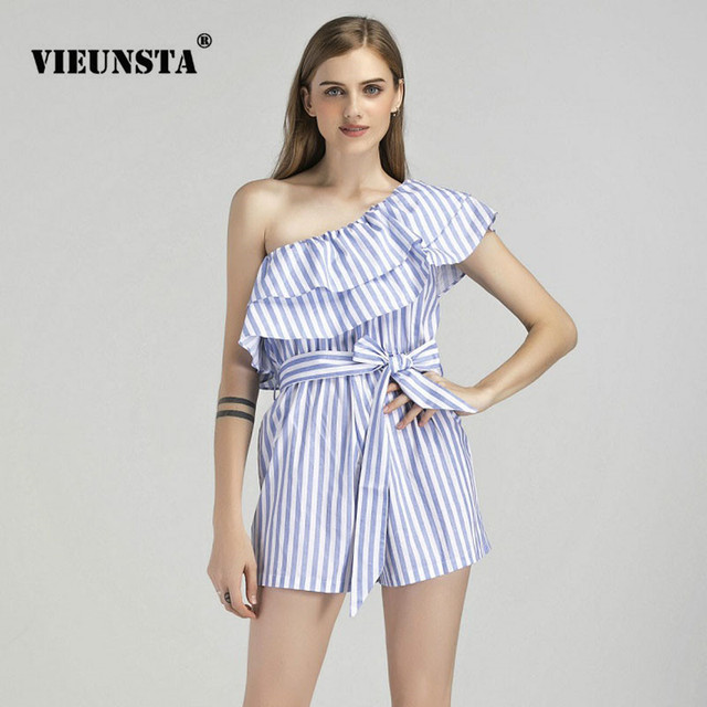 a97c3467c7a VIEUNSTA 2018 Fashion One Shoulder Ruffle Striped Playsuits For Women  Elegant Bow Summer Rompers Sexy Jumpsuits With Belt Female