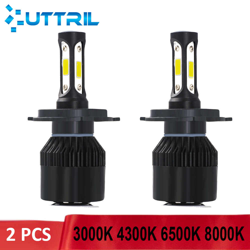 Uttril 2 Pcs Car Headlight H4 H7 H11 3000K 4300K 6500K 8000K LED Bulb H1 H3 H8 H9 9005 9006 880 881 Hi/lo Auto Headlamp 12V