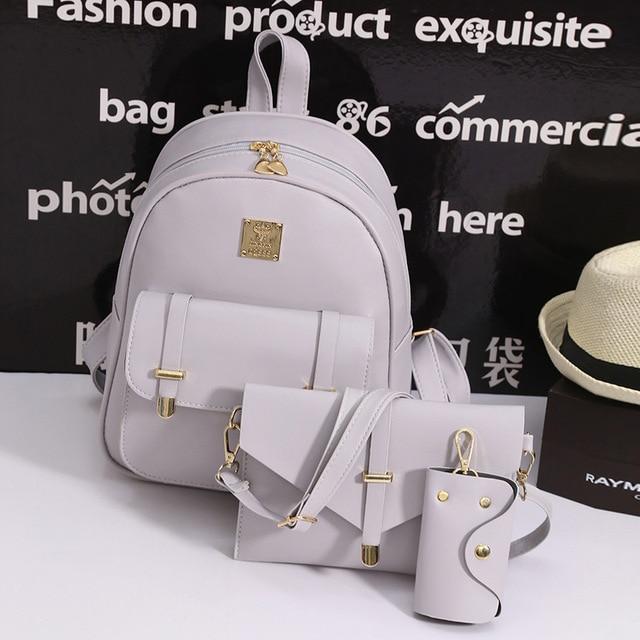fc14087e593b 2017 NEW fashion backpack women backpack Leather school bag women Casual  style Backpacks Sets messenger Shoulder
