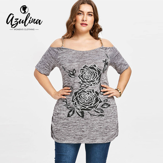 d328f867dbc AZULINA Plus Size Floral Chains Embellished Tunic T-Shirt Women Off Shoulder  Half Sleeve Ladies Tops Tees Casual T Shirt 2018