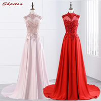 Pink Long Lace Evening Dresses Party Red High Neck Satin Beautiful Women Prom Formal Evening Gowns Dresses On Sale