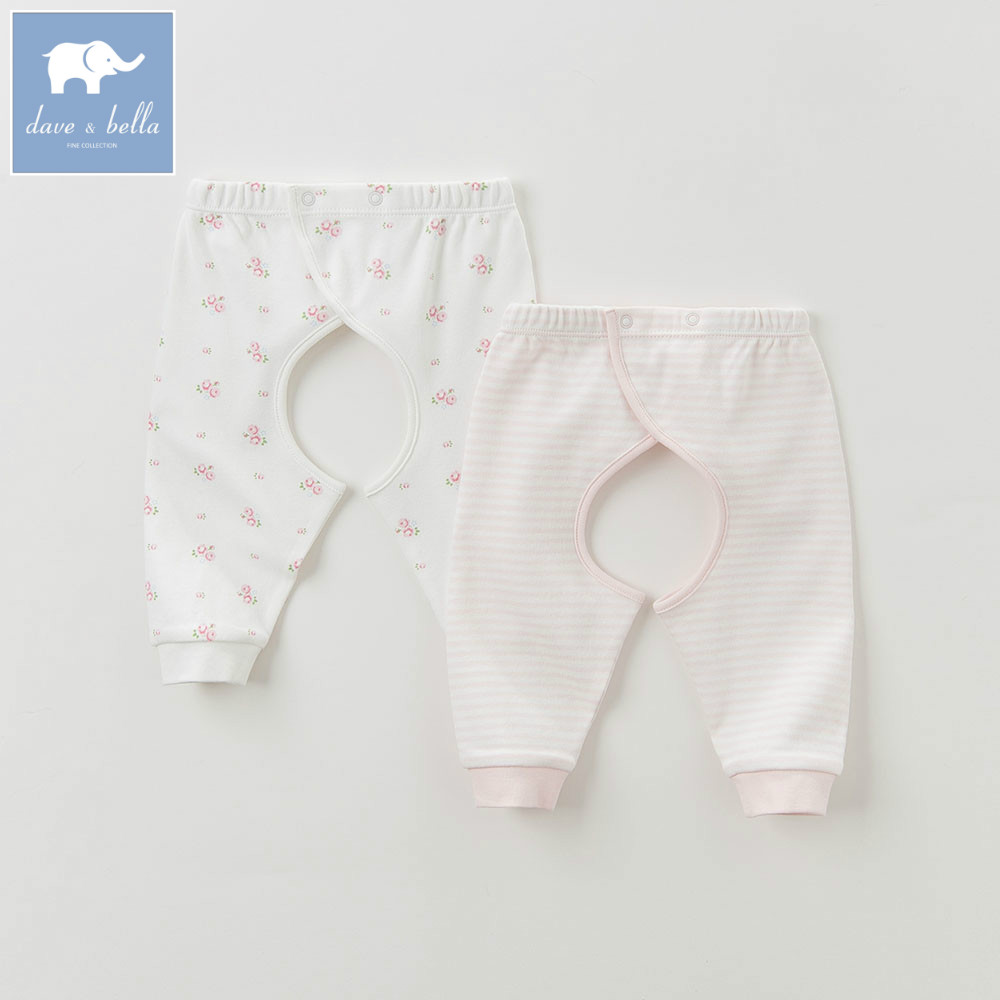 DB6053 dave bella autumn new born baby boys girls sleep printed pajamas bottoms baby pink yellow sleep bottoms ...