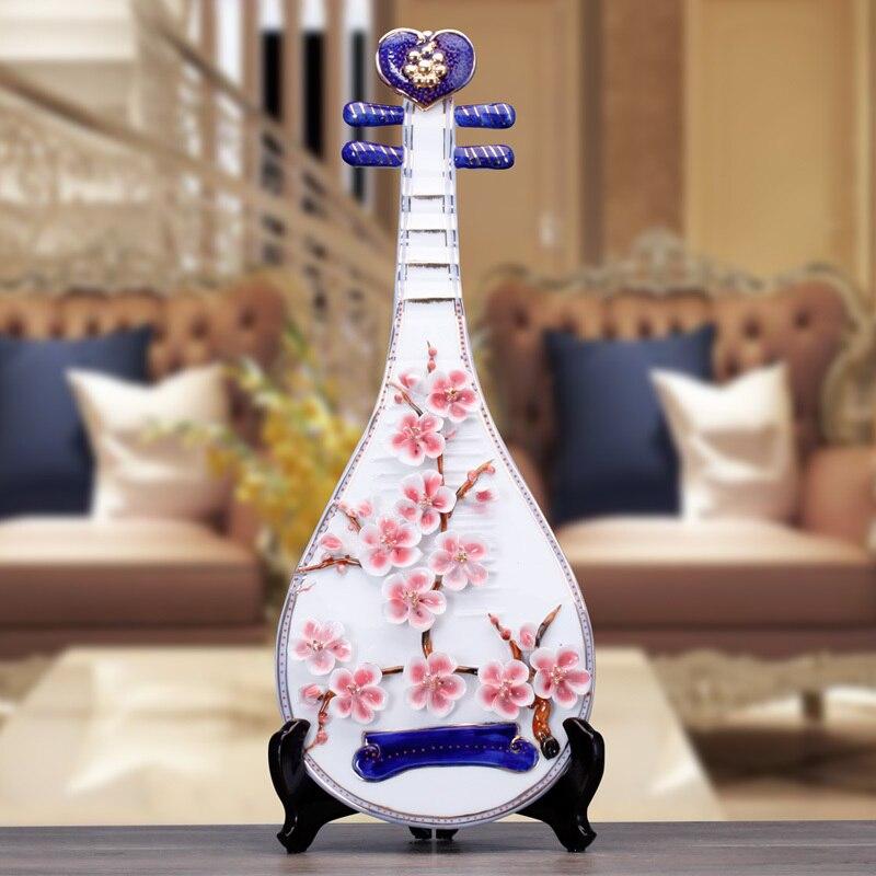 Artisanat créatif mariage violon guitare Lute en céramique décor à la maison artisanat chambre décoration en céramique ornement porcelaine Figurines - 3
