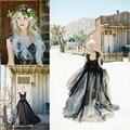Vestido де noiva Уникальный Черный Свадебные Платья Line Милая Блестками Аппликация Свадебные Платья 2017