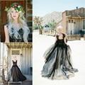 Vestido de noiva Único Negro de La Boda Vestidos de Una Línea de Novia de Lentejuelas Apliques Vestidos de Novia 2017