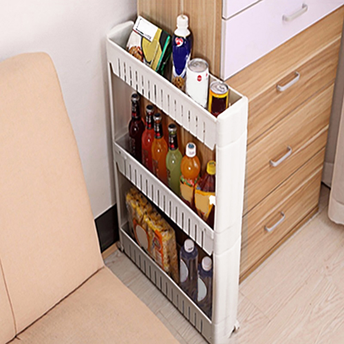 Kitchen Crevice Storage Shelf Bedroom Bathroom Organizer Movable Storage Rack In Racks Holders