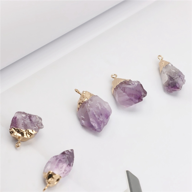 1PC Purple Natural Amethyst Gemstone Pendant Quartz Crystal Point Healing Stone Long Chain Necklace Amethyst Pendant Home Decor 5