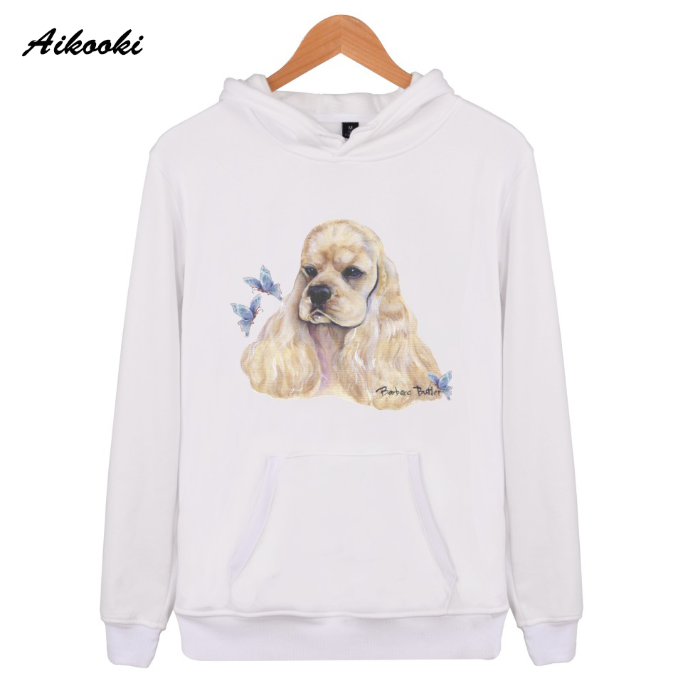 Aikooki Blue Butterfly Cocker Spaniel Sweatshirt Women Men Hoodies Fashion Hoodie Female Casual Funny Cute Dog Hooded Clothes