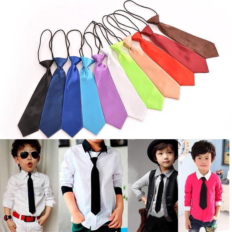 11 Colors Boy Toddle Tie Kids Baby School Boy Wedding Necktie Neck Tie Elastic Solid Color Satin Wholesale