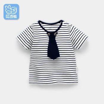 Letnia odzież dziecięca chłopięca chłopięca koszulka dziecięca koszulka dziecięca 1 paski 2 krótkie rękawy 3 letnie lato tanie i dobre opinie jingle mallet Na co dzień COTTON Poliester baby Pasuje prawda na wymiar weź swój normalny rozmiar tops Tees O-neck W paski