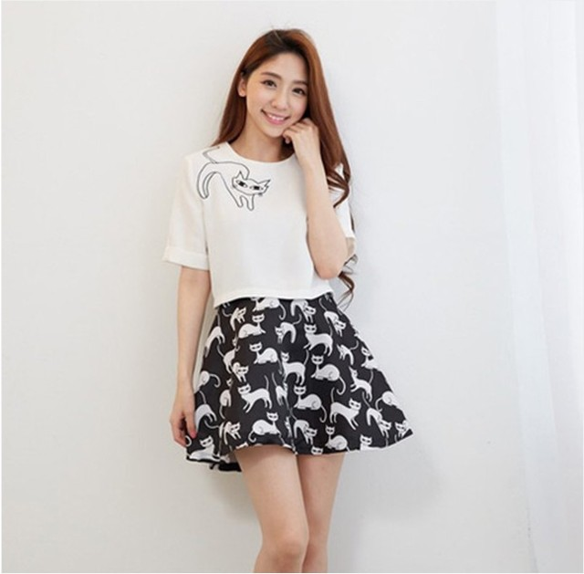 42a180d38f3 Spring Summer Fashion Women s Elegant Casual Skirt and Tops Two Piece Cat  Printed Women Clothing Twinset Ball Gown Skirts Set